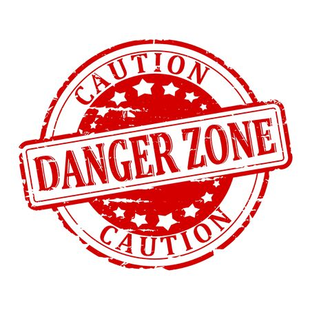 danger zone: Damaged red round stamp with the words - danger zone - caution - vector