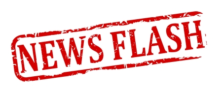 newsflash: Damage to red oval stamp with the words - news flash - vector