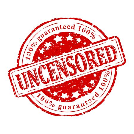 intact: Damaged red round stamp with the inscription - uncensored - guaranteed - vector
