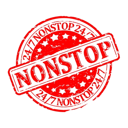 nonstop: Damaged red round stamp with the words - nonstop 247 - vector