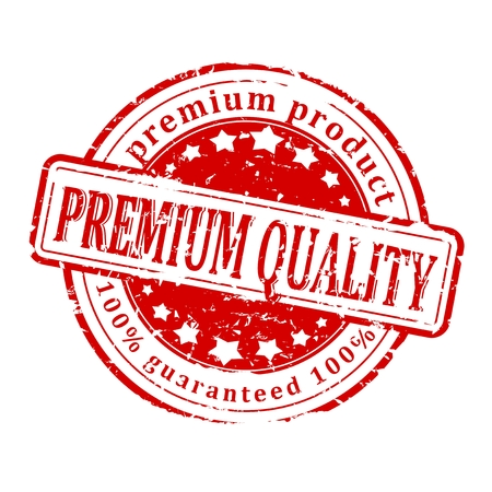 the inscription: Damaged red round stamp with the inscription - premium quality product, guaranteed - vector