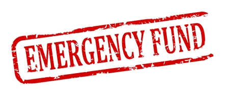 disaster relief: Damage to red oval stamp with the words - emergency fund - vector Illustration