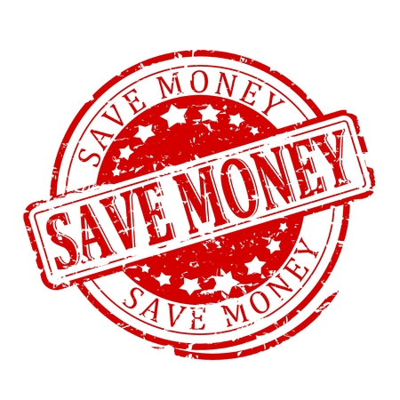 save money: Damaged round red stamped - save money - illustration