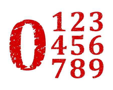 numbers: Damaged red numbers 0-9 - vector