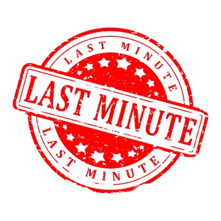 last minute: Damaged Round red stamp with the inscription - last minute - vector