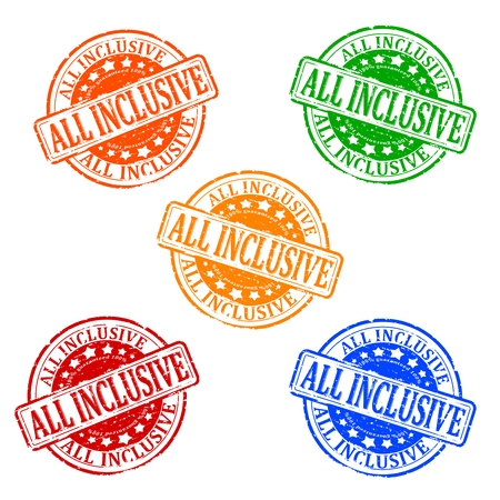 inclusive: Damaged colorful stamps - all inclusive - vector