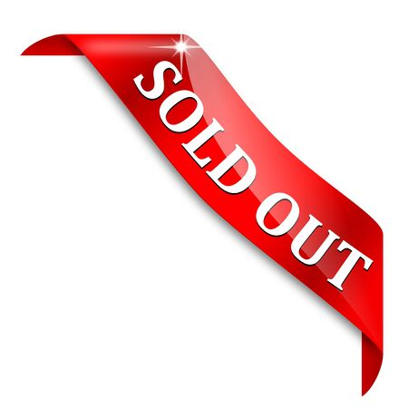 Red corner ribbon with the inscription - Sold out - vector Illustration