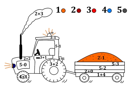 siding: Calculate the examples and fill colors depending on the result - a tractor with siding -vector