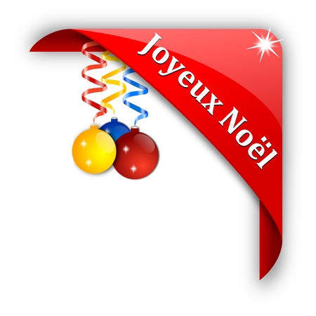 joyeux: Tape red corner with colorful Christmas bulbs with inscription Merry Christmas - vector Illustration