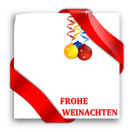 deutsch: Paper with red ribbons, Christmas bulbs and the words Merry Christmas - Deutsch - illustration