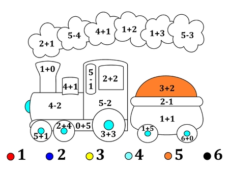calculate: Calculate the examples and cheerful color the image train - illustration.