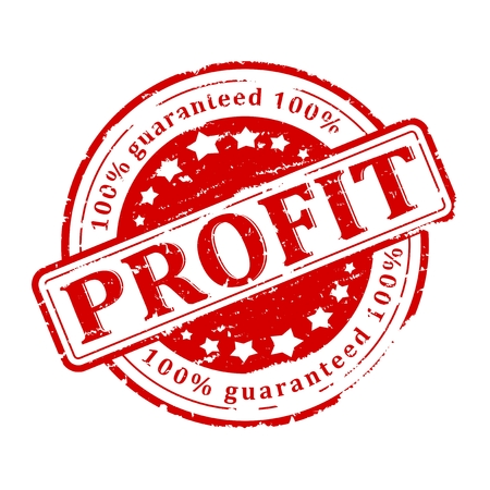 Scratched round red stamped - guaranteed profit - vector