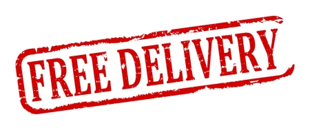 longitudinal: Damaged Longitudinal stamp with the word Free delivery - vector