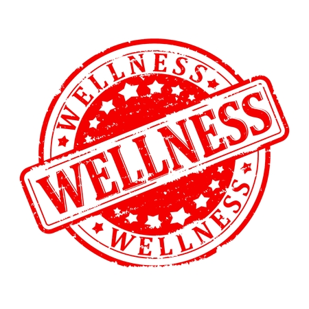 free radicals: Damaged round red stamped - wellness - vector
