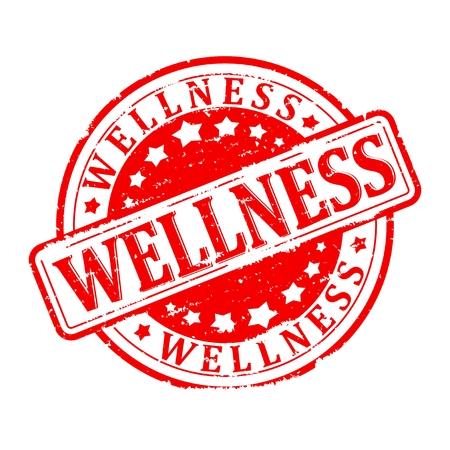 Damaged round red stamped - wellness - vector