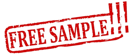 free sample: Damaged red oval stamp with the words - free sample - vector