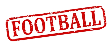 futbol soccer: Scratched red oval stamp with the words - Football - vector
