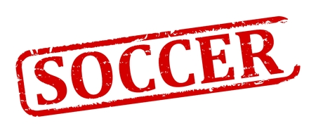 futbol: Scratched red oval stamp with the words - Soccer - vector