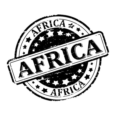 scratched: Scratched black stamp with the words - africa - vector Illustration
