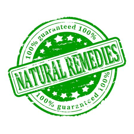 remedies: Damaged round green stamp with the words - natural remedies - vector