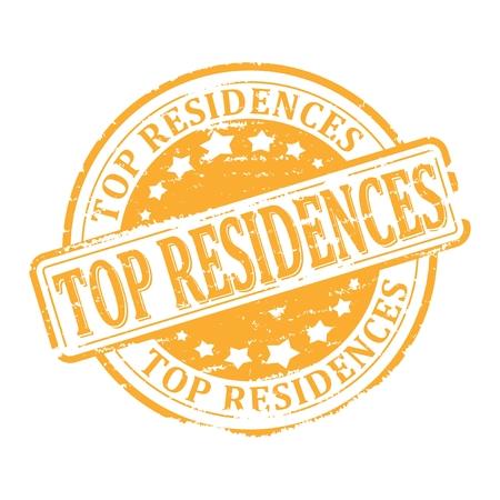 residence: Scratched gold stamped - top residence - illustration Illustration