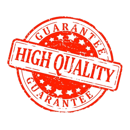 Red round stamp with the word guarantee high quality - vector Illustration