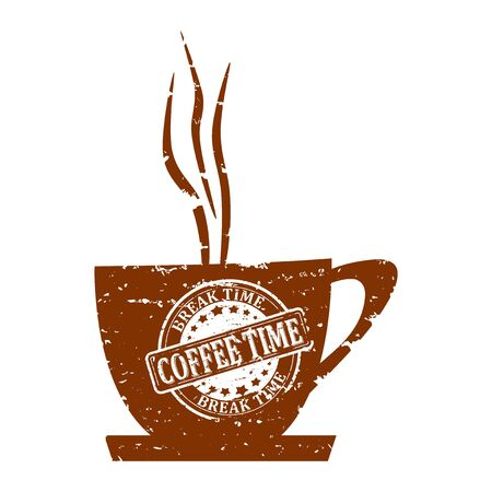 big break: Brown with white mug stamped with an inscription - coffee time, break time - vector