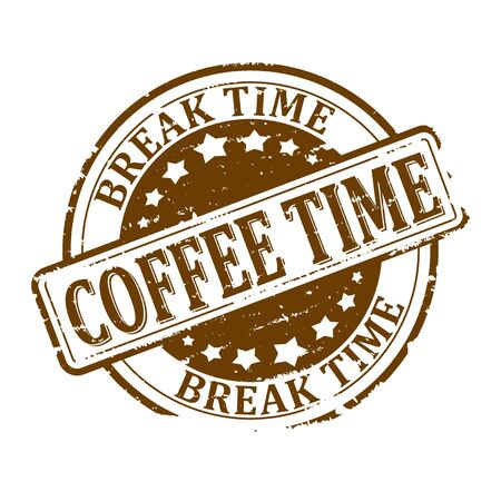 break: Scratched round brown stamped - coffee time - break time - vector Illustration