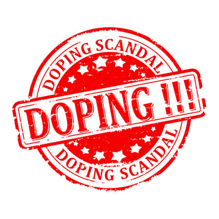 scandal: Scratched red round stamp with the word - doping scandal - vector