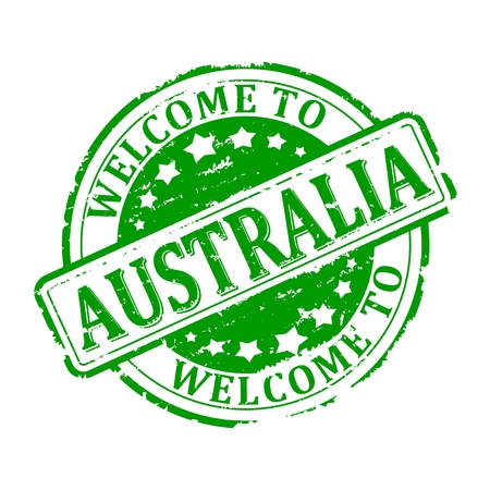 australia stamp: Scratched green stamp with the words - welcome to australia - illustration