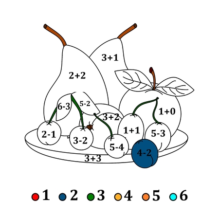 depending: Calculate the examples and fill colors depending on the result - fruits - illustration