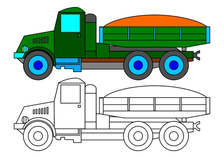 winter car: Historical green truck with a load of sand as a coloring book for kids - vector