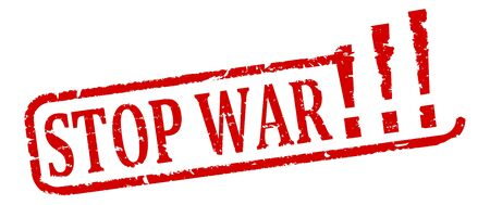 no nuclear: Scratched oval red stamp with the words Stop the war - illustration