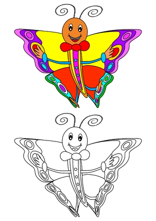 Smiling colorful butterfly as a coloring book for kids - vector 일러스트