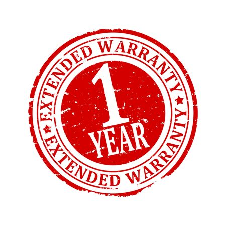 1 year: Scratched red round stamp with the inscription - Extended Warranty 1 year - vector