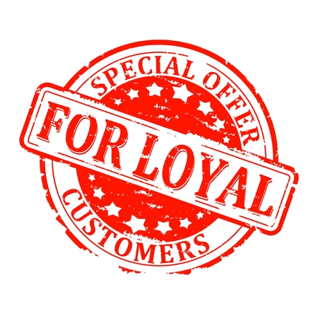 Scratched red round seal with the inscription - special offer for Loyal Customers - vector