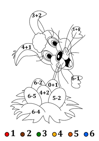 small children: Counting with coloring books for small children with an Easter hare  Illustration