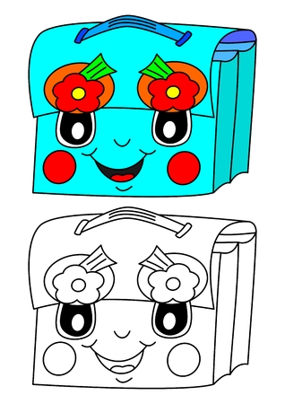 schoolbag: Blue smiling schoolbag with flowers as a coloring for little kids  Illustration