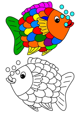 fish pond: Color coloring book for young children  Illustration