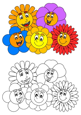 meadow flower: Smiling colorful flowers such as coloring books for little kids - illustration Illustration