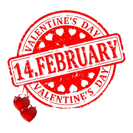 Scratched red round seal with the inscription - 14.february ,Valentine's Day - vector Vetores