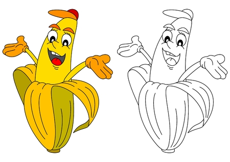 exotic fruit: Cheerful yellow banana with cap as a coloring book for little kids - vector