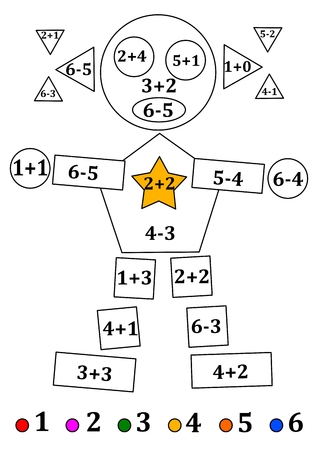 subtraction: Figure of geometric shapes with numerical examples for little kids - vector