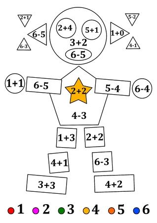 Figuur van geometrische vormen met numerieke voorbeelden voor kleine kinderen - vector