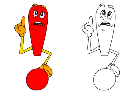 Red exclamation mark as a coloring for little kids - vector