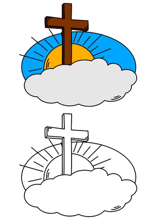 pasqua cristiana: Cross on a cloud and the sun as a coloring for kids - vector
