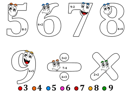 times up: Cheerful numbers to painting as counting for little kids - coloring book - illustration