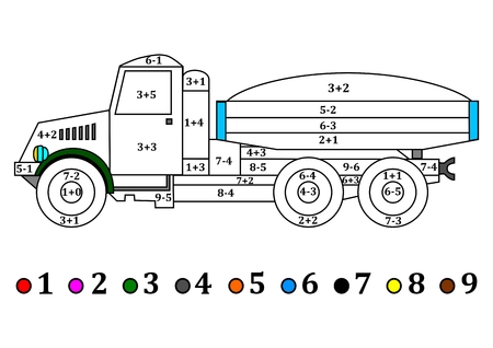 old truck: Old truck with the numerical examples for little kids - coloring book - illustration