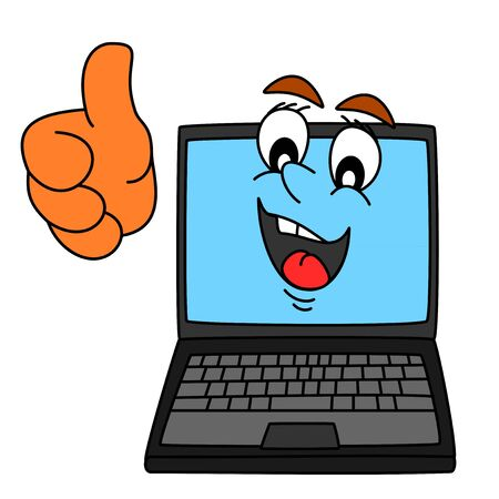 Satisfied smiling with thumbs-up computer