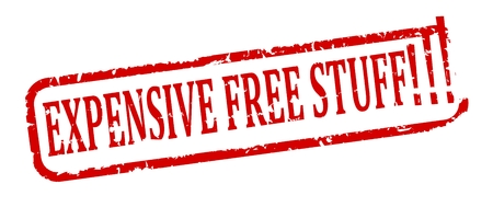 Scratched red oval stamp with the words - expensive stuff free - vector Vetores